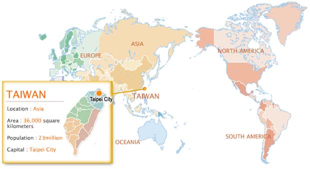 Taiwan Map On World
